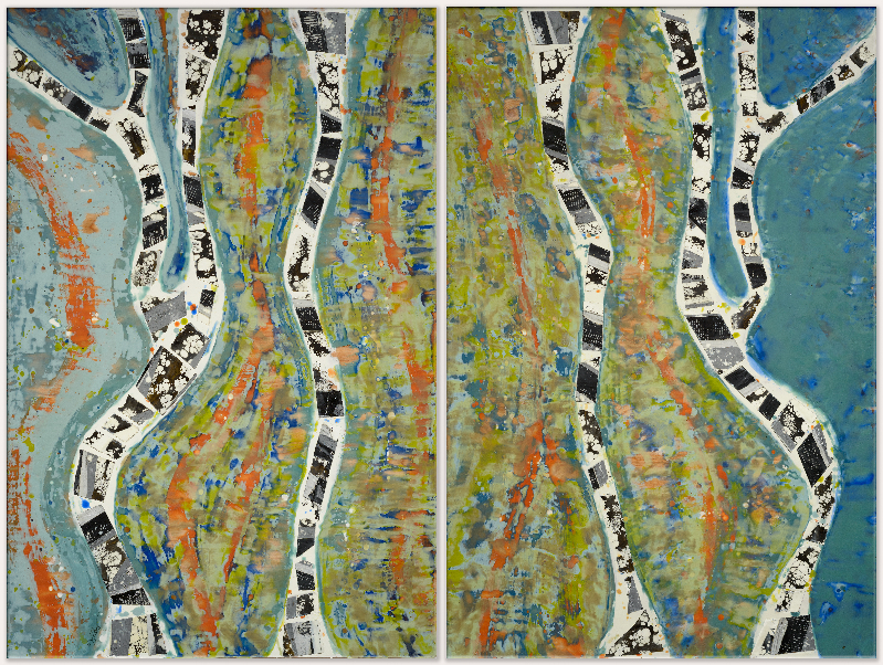 Slash & Burn: Earth, Wind & Fire (Diptych), encaustic, shellac, and burned duct tape, Joy Hagen