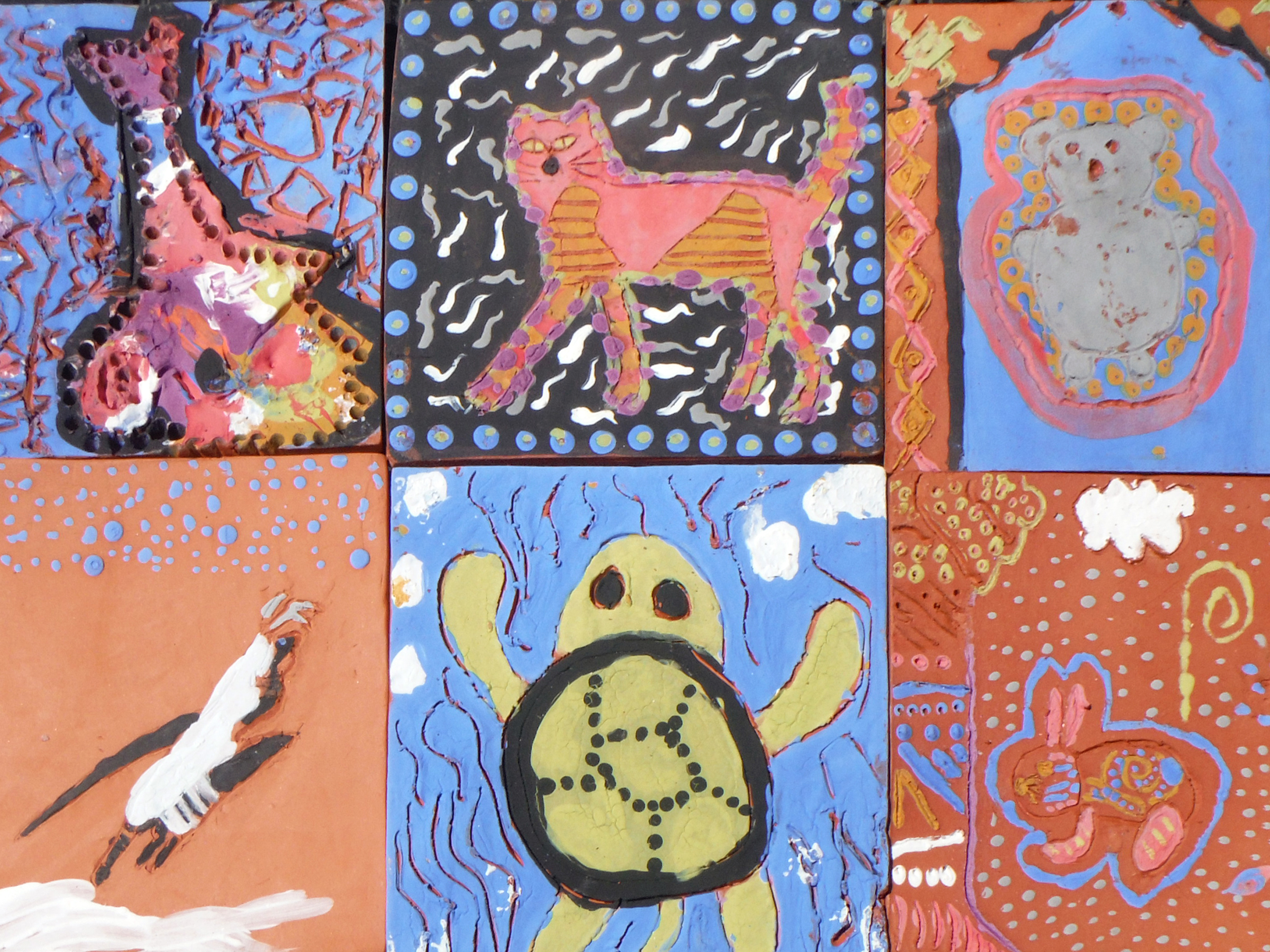 Ceramic tiles made in youth summer art camp