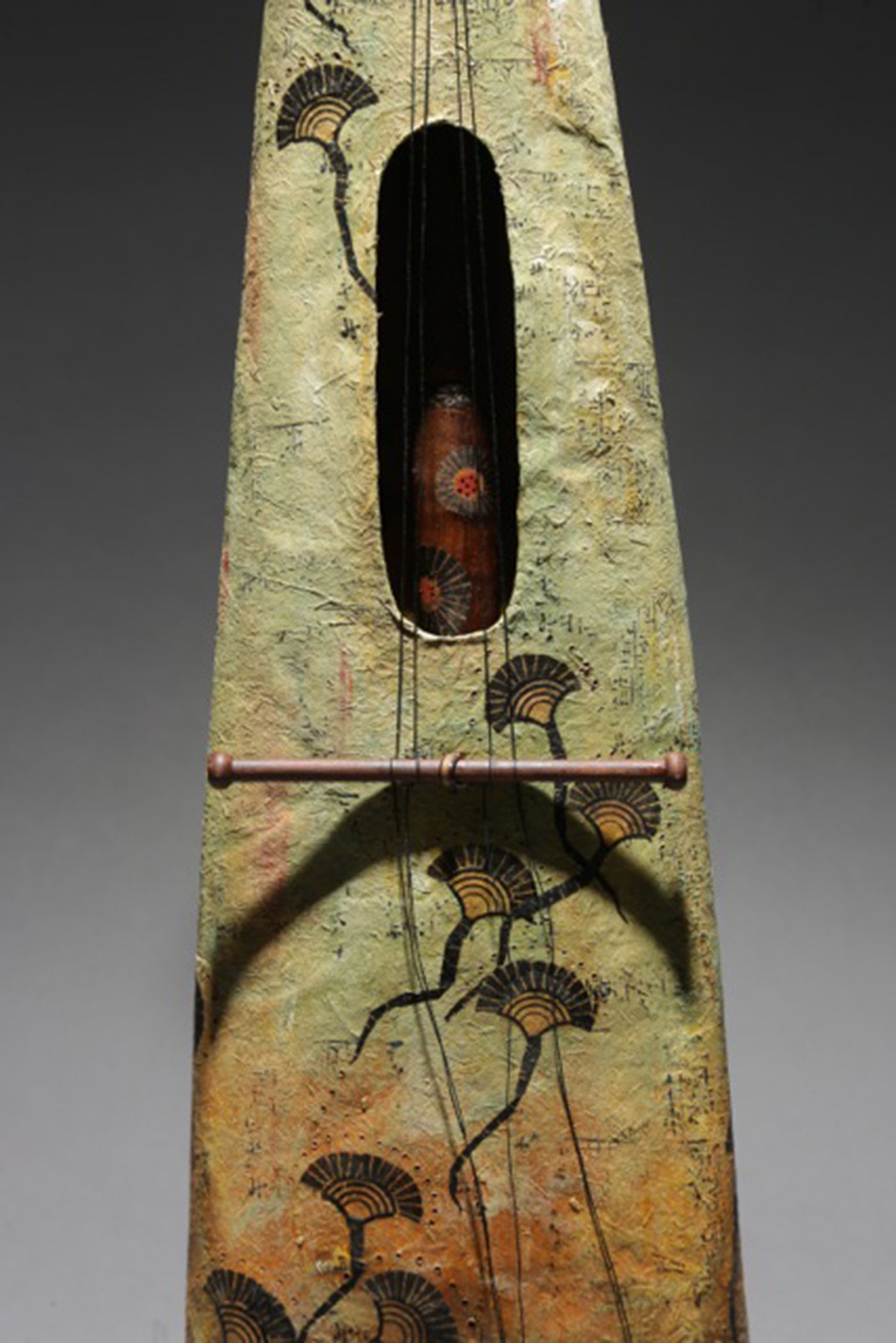Danielle Bodine, Wanderer's Song (details), Mulberrry and recycled papers, wood cane, waxed linen, bobbin