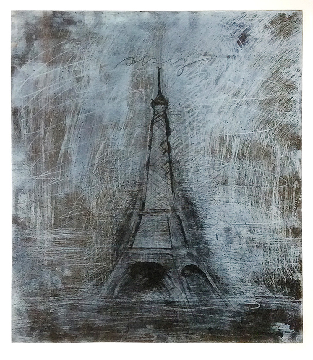 Jim Dine, Eiffel Tower, Etching, Collection of Michael Dickter and Nancy Whittaker