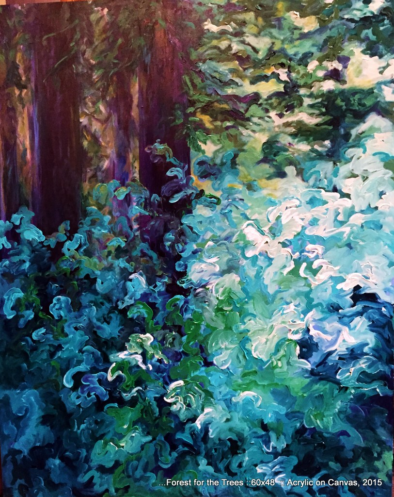 Kathleen Woodward, Forest Through the Trees, acrylic on canvas